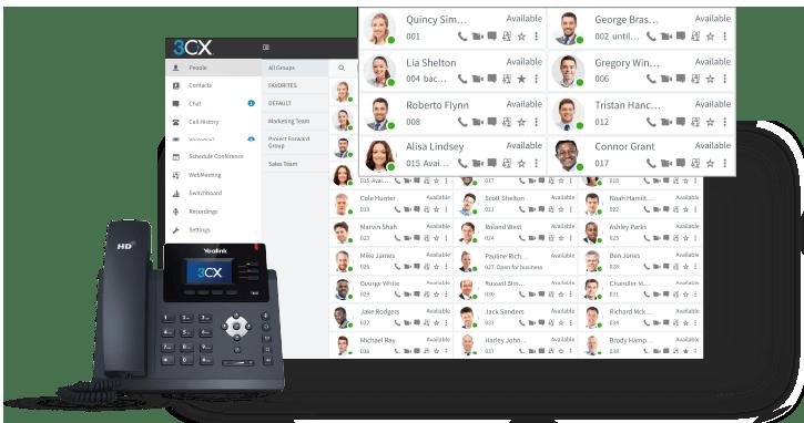 Tableau de contrôle d'utilisateurs de système de téléphonie 3CX