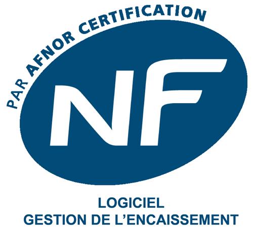 Logo de certification Afnor pour la gestion de l'encaissement