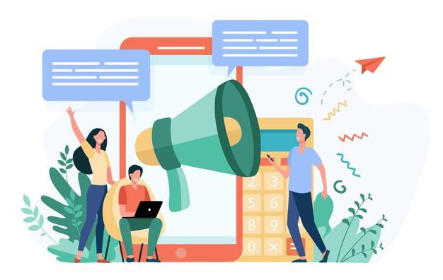 Personnages devant des outils de communication en ligne