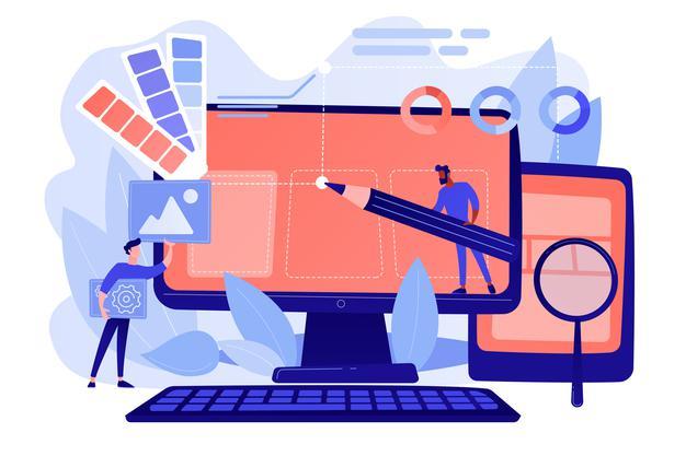 Personnages procédant à la création d'un site internet graphique