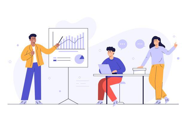 Trois personnes travaillant aux statistiques d'un site internet
