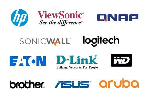 Logos de HP, ViewSonic, Qnap, SonicWall, Logitech, Eaton, D-link, Western Digital, Brother, Asus, Aruba