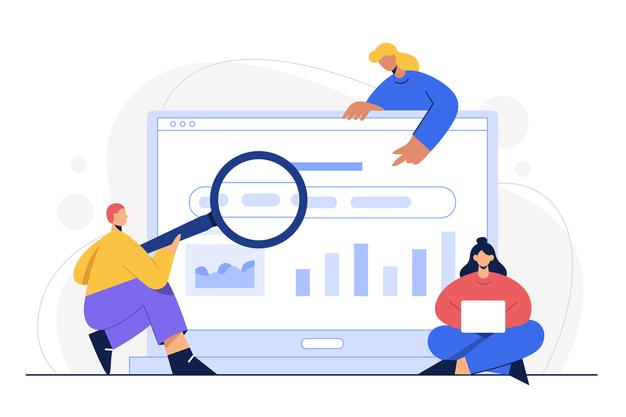 Trois personnages effectuant des recherches Google pour trouver des sites internet