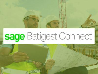 Logo de Batigest Connect sur fond de deux hommes au travail sur un chantier