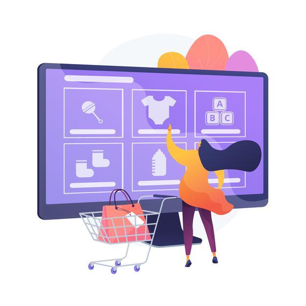 Personnage féminin procédant à l'achat d'articles depuis un site internet e-commerce