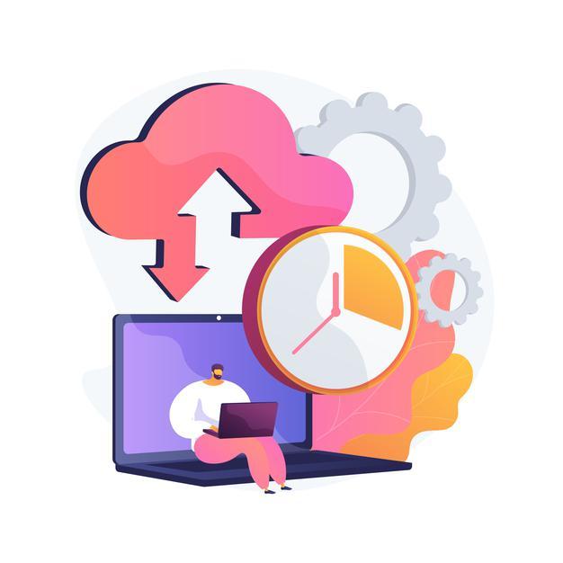 Personnage travaillant sur ordinateur dont les données sont synchronisées avec le cloud