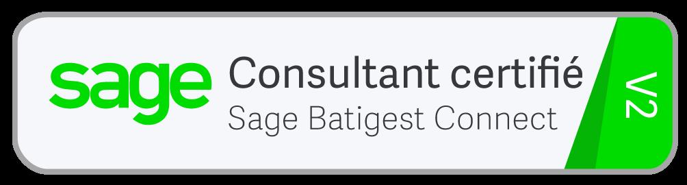 Logo Sage de certification Batigest Connect